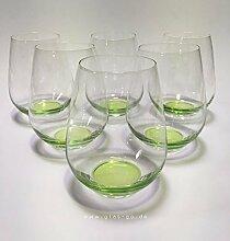 Design Trinkglas, O-Glas, Weinglas, Wasserglas, 6er Set Gläser für Rotwein, Weißwein, Wasser, Saft, Cocktails, Tischlicht, Windlicht, farbig, bunt, Farbe grün. Stilvolle Impressionen