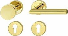 Design Tür-Beschlag Edelstahl Tür-Griff Messing Drückergarnitur auf Rund-Rosette für Zimmertüren - LDH 2171 | Wechselgarnitur rechts | Edelstahl Messing PVD-beschichtet | Baubeschläge von JUVA®