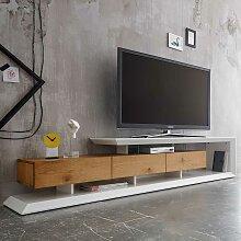 Design TV Lowboard in Weiß Eiche furniert