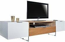 Design TV Lowboard ONYX weiss hochglanz Eiche 160