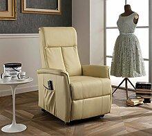 Design Twist Morgana Sessel Aufstehhilfe, Kunstleder, beige, 82x 74x 117cm