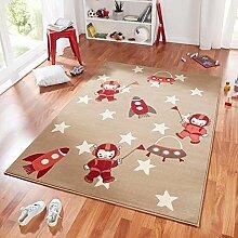 Design Velours Kinderteppich Spielteppich Astronaut beige rot 140x200 cm