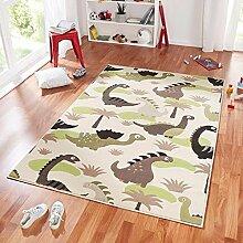 Design Velours Kinderteppich Spielteppich Dinosaurier grün braun 140x200 cm