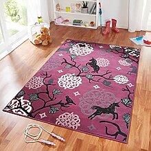 Design Velours Kinderteppich Spielteppich Einhorn violett lila 140x200 cm