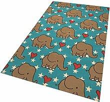 Design Velours Kinderteppich Spielteppich Elefant Blau 140x200 cm