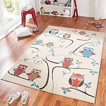 Design Velours Kinderteppich Spielteppich Eulen beige blau rot 140x200 cm