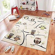 Design Velours Kinderteppich Spielteppich Eulen beige grün 140x200 cm
