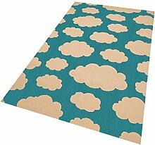 Design Velours Kinderteppich Spielteppich Wolken Blau 140x200 cm