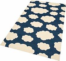 Design Velours Kinderteppich Spielteppich Wolken Dunkelblau 140x200 cm