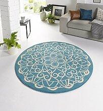 Design Velours Teppich orientalisch CM-14 Blau