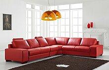 Design Voll-Leder Ledergarnitur Ledersofa Ecksofa-Sofa-Garnitur-Eckgruppe 5010-R-ro