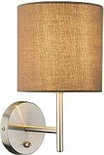Design Wand Lampe Stoff Schirm Schlafzimmer Leuchte braun Schalter E14 Globo 15186W