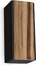 Design Wandlampe aus schwarzem Beton & Teak-Holz