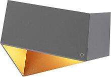 Design Wandlampe grau mit Kupfer - Fold
