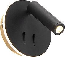 Design Wandlampe schwarz inkl. LED - Mario