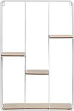 Design-Wandregal Metall Weiß und Holz SLICE