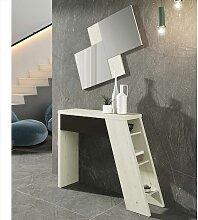 Design Wandspiegel und Konsole in Creme Weiß und