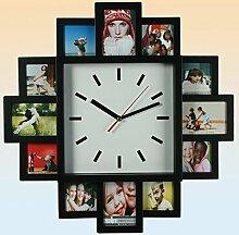 Design Wanduhr mit Bilderrahmen - Fotouhr 12 Bilder