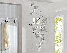 Design Wanduhr Schmetterlinge Spiegel Tiere Ornamente Floral Muster Frühling, Größe:ca. 40cm x 60cm