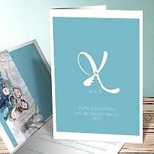 Design Weihnachtskarten, Big XMas 175 Karten, Vertikale Klappkarte 105x148 inkl. weiße Umschläge, Blau