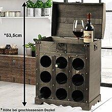 Design Wein Flaschen Aufbewahrung Regal Holz Truhe braun Metallbeschlag Kolonial Stil Harms 304004