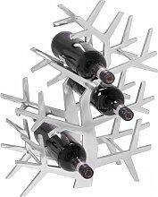 Design Weinregal 6 Flaschen in Baumform Alu Silber