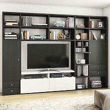 Design Wohnwand für Fernseher Eiche Schwarz Braun