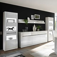 Design Wohnwand in Weiß Hochglanz und Beton Grau