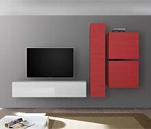 Design Wohnzimmer Schrankwand in Rot und Weiß
