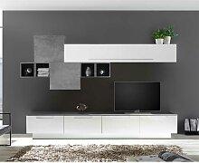 Design Wohnzimmer Wohnwand in Weiß Hochglanz und
