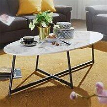 Design Wohnzimmertisch Oval 120x60cm mit Marmor