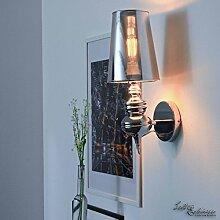 Design XL Wandleuchte Chrom Innen in silber / E27 bis 60W 230V / Wandlampe modern für Wohnzimmer Flur / tolle Lichteffekte großer Schirm stabile Bauweise