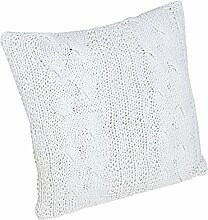 Design Zierkissen weiß 45cm Baumwolle in Handarbeit gestrickt Strick Kissen Dekokissen Dekoration Wohnaccessoire Accessoire