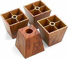 Design61 4er Set Sofa Füße Kunststoff Möbelgleiter Möbeluntersetzer Sofa Sessel zum Anschrauben Kunststoff Möbelgleiter in Braun Holzmaserung