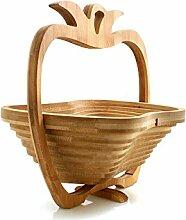 Design61 Obstkorb Bambus Faltkorb Bambusholz Obstschale Obst Schale Korb