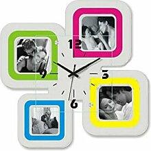 Design61 Quarz Uhr Foto Wanduhr mit Bilderrahmen