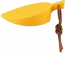 Design61 Türstopper Rutschfest Türkeil Keilform Tür Stopper Keil aus Silikon Blatt Stil (Gelb)