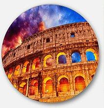Designart Colosseum MT7550-C23 Bilderrahmen, rund,