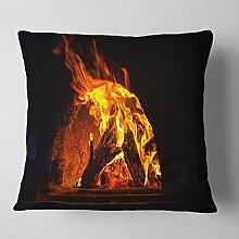 Designart Holzofen mit Feuer und Blaze'