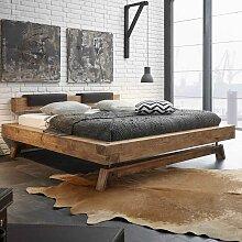 Designbett aus Wildeiche Massivholz Klemmkissen