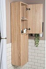 Designer 1500mm hoher Badezimmer Bad Schrank Badmöbel 2 Türen helle Eiche Peace