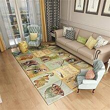 Designer Area Teppich für Wohnzimmer Nordic Style Anti-Rutsch-Border Mat für Schlafzimmer Esszimmer Kurzhaus Designer Teppich - traditionelle bunte Pflanze / Tier Stitching Pattern ( größe : 120*160cm )