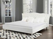Designer Barock Leder Bett Unicorn Einhorn WEISS mit Lattenrahmen Lattenrost optional mit Bettkasten / Stauraum Polsterbett traumhaftes Luxus Lederbett Bett Doppelbett (140x200 cm ohne Bettkasten)