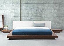 Designer Bett Japan Stil japanisches Holzbett Walnuss Farbe HELLBRAUN flaches massives Futonbett mit Lattenrost / Lattenrahmen günstig 180x200 cm