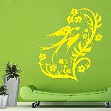Designer Bird & Blumen Easy Peel & Stick Wandtattoo Vinyl-Aufkleber-Farbe Wählen