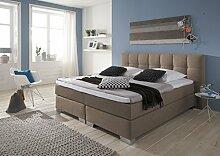 Designer Boxspringbett Home, Made in Germany, Tonnentaschenfederkern in der Box UND in der 7-Zonen Matratze, Visco Topper, Luxusbett, Hotelbett, Doppelbett Cappuccino, H2/H3, 200x200cm