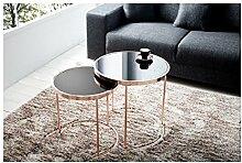 Designer Couchtisch 2er Set kupfer mit Glas Tisch