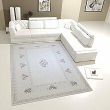 Designer Eleganter Teppich In Creme Hell Mit Blumen Verzierungen Und Hoch- Tief Strukturen - VIMODA, Maße:80x150 cm