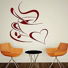 Designer-Kaffeetasse Easy Peel & Stick Wandtattoo Vinyl-Aufkleber-Farbe Wählen