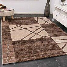 Designer Kurzflor Teppich in Braun Beige mit